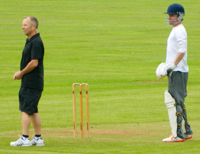 Umpire Callaway longing for a pint!